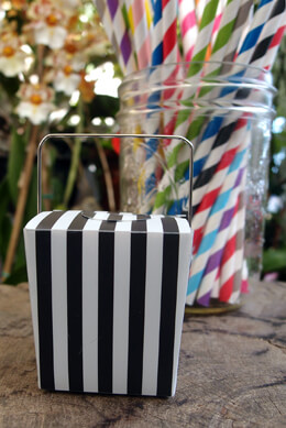 "12 Mini Black & White Striped Takeout Boxes 2""   (12 boxes)"