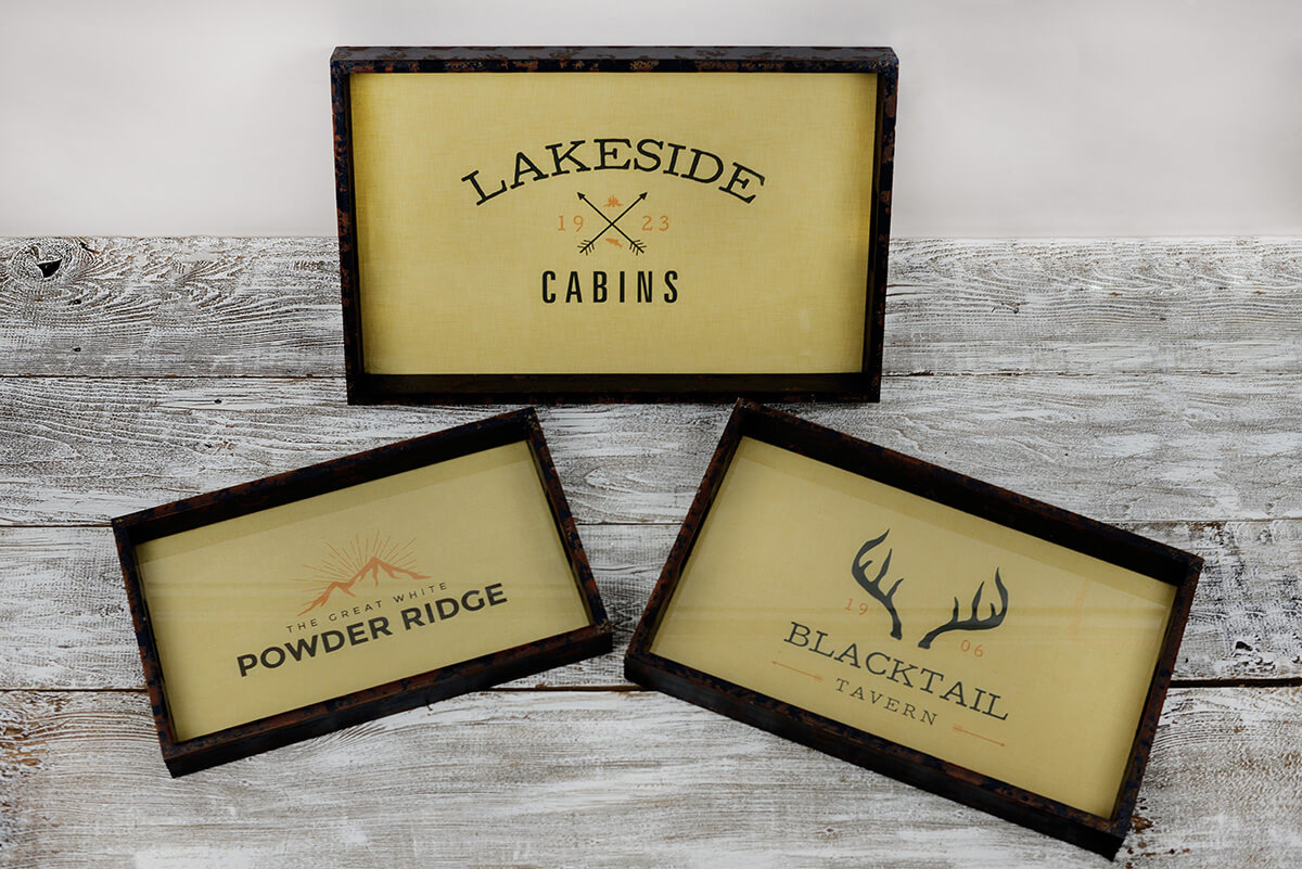 3 Blacktail Tavern Serving Trays, Pine & Glass, 18-22""