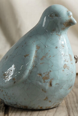 Blue Crackle Glazed Ceramic Bird