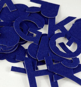 Blue Felt Sticky Back Letters & Numbers 2in