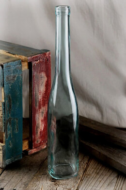 Long Neck Blue Glass Bottle