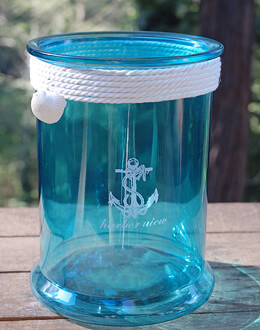 Nautical Cylinder Vase Blue 10in