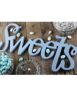 "SWEETS Wood Sign Blue 18"", Handmade"