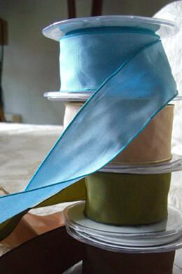 "Blue Taffeta Ribbon Wired 1.5""x 9 yards"