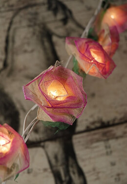 Rose String Lights with Bhodi Leaves | Pink