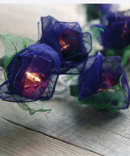 Rose String Lights with Bhodi Leaves Purple