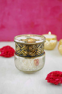 Bohemian Candle Holder 3.5x3.75in