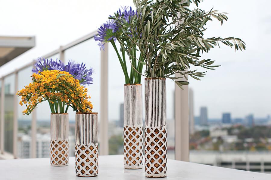 """Boho Copper & White Ceramic Vase 13"""""""