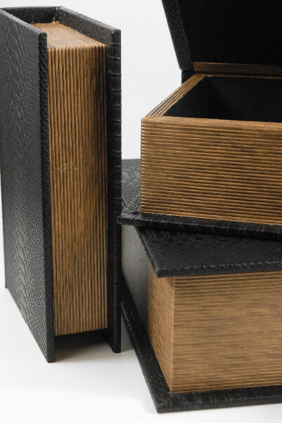 Book Boxes Set of Three Snake Skin Covers