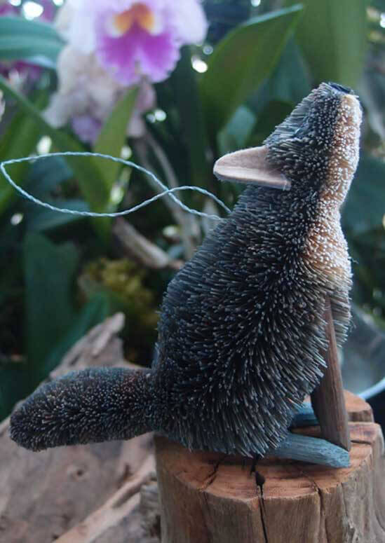 Bottle Brush Handmade Howling Wolf Ornament