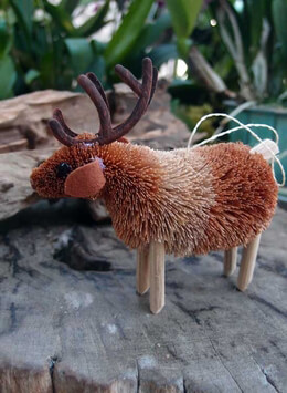 Bottle Brush Handmade Reindeer Ornament