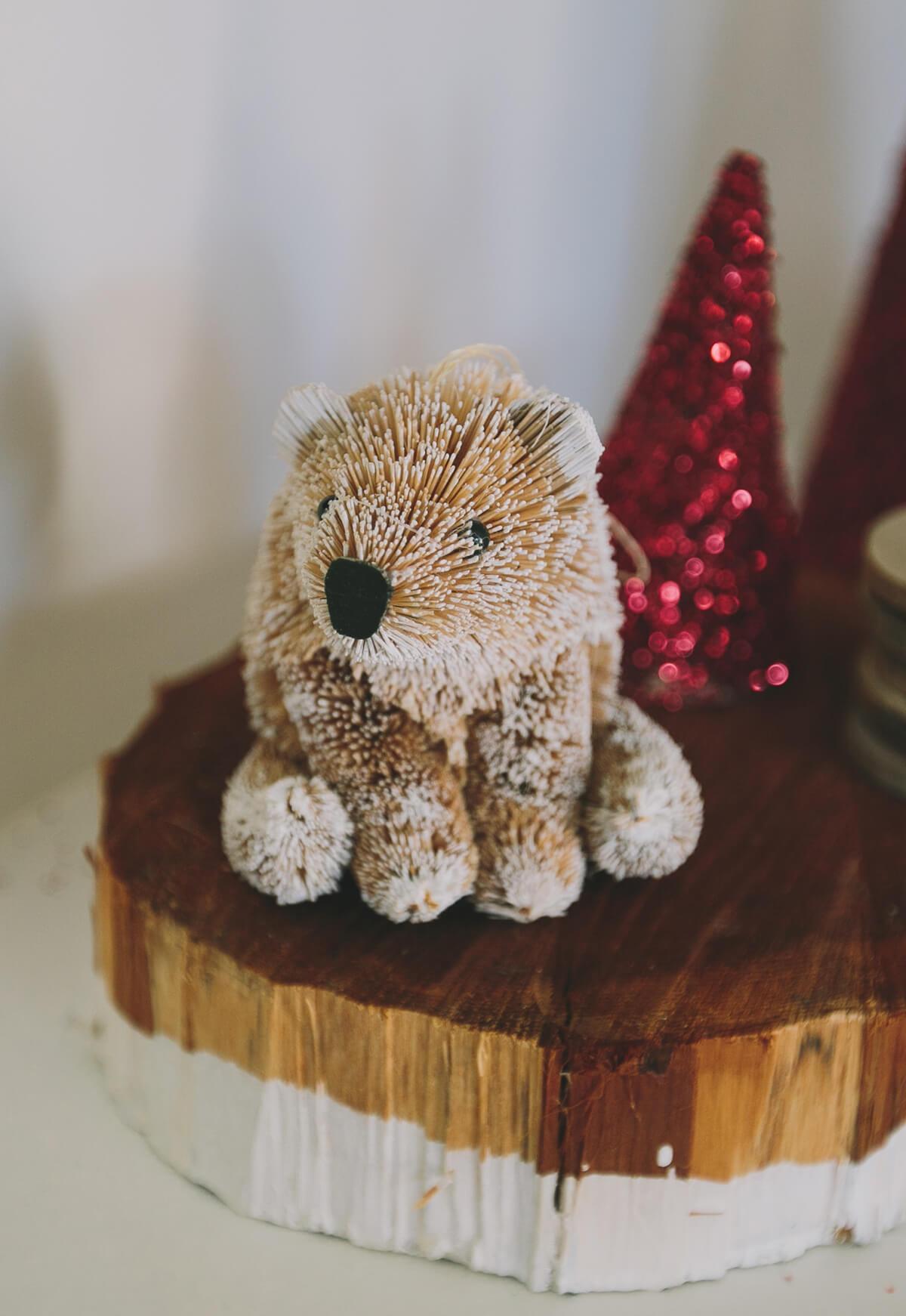 Bottle Brush Handmade Polar Bear Ornament