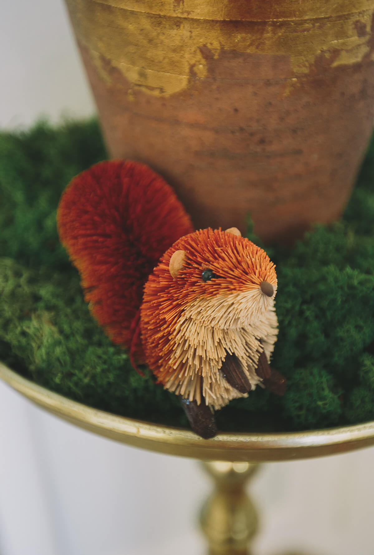 Bottle Brush Handmade Red Squirrel Ornament