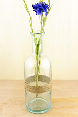 "Tall Glass Bottle with Twine 11-1/2""  Recycled Glass"