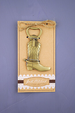 Just Hitched Bottle Opener Cowboy Boot, Wedding Favors, Barn Wedding