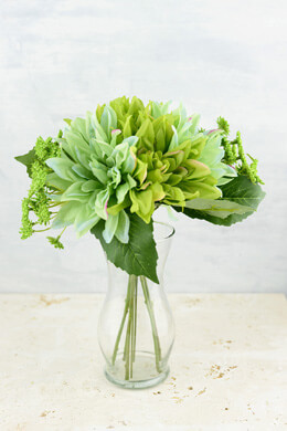 "Green Dahlia Wedding Bouquet, 12"", Hand Wrapped"