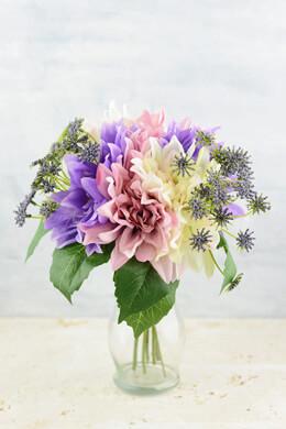 "Pink, Lavender & Cream Dahlia Wedding Bouquet, 12"", Hand Wrapped"
