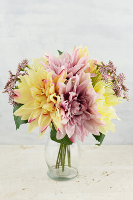 "Yellow & Pink Dahlia Wedding Bouquet, 12"", Hand Wrapped"