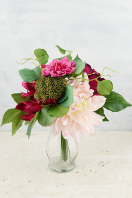 "Dahlia and Peony Wedding Bouquet, 12"", Hand Wrapped"