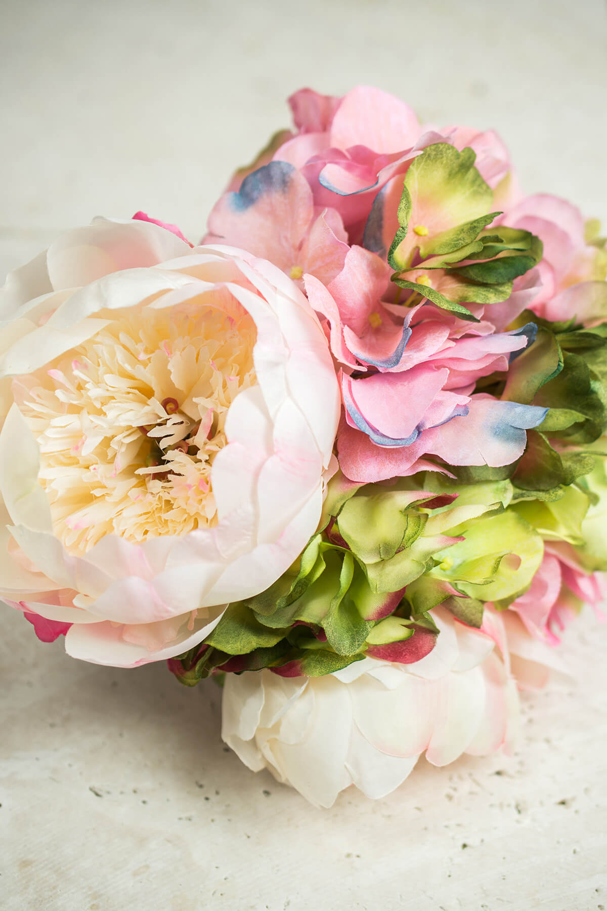Hydrangea and Peony Bouquet, Pink, White & Green