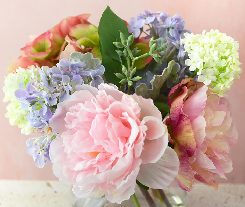 Spring Bouquet with Hydrangeas & Peonies in Glass Vase