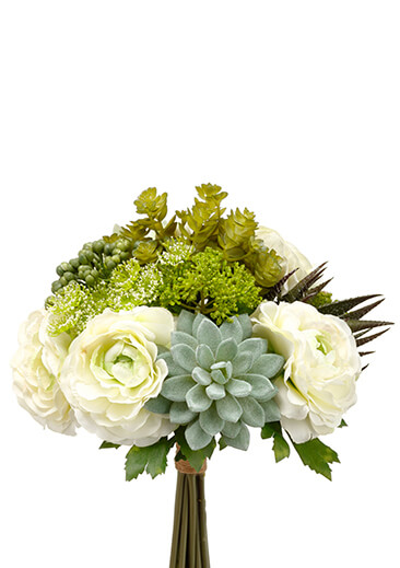 "Faux Hydrangea, Rose & Succulent Bouquet in Green and White 12"" Tall"