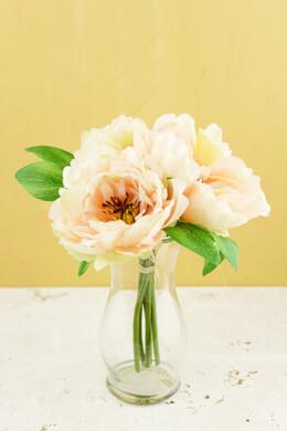 "Peony Silk Bouquet in Peach - 10"" Tall"