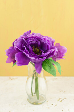 "Peony Silk Bouquet in Orchid Purple - 10"" Tall"