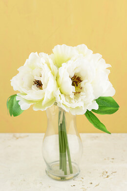 "Peony Silk Bouquet in White - 10"" Tall"