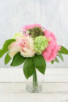 "Peony and Snowball Silk Bouquet in Two Tone Pink Green - 11"" Tall"
