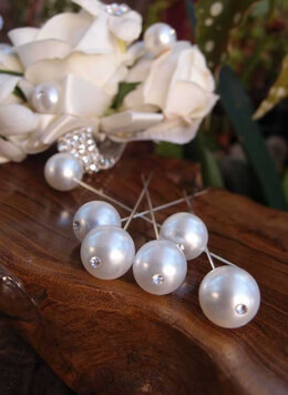 Bouquet Pins Pearl & Rhinestone (Pack of 6)