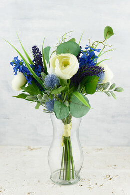 "Ranunculus and Lilac Silk Bouquet in Blue Purple Cream - 13"" Tall"