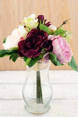 Burgundy & Pink Rose Wedding Bouquet