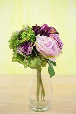 Hydrangeas, Purple Calla Lilies, Cabbage Flowers & Rose Bouquet Lavender & Green