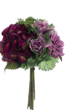 Hydrangeas, Purple Calla Lilies, Cabbage Flowers & Rose Bouquet Lavender & Green