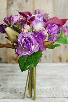 Lavender & Orchid Rose & Calla Lily Silk Bouquet