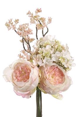 Peach Tea Roses and Hydrangea Bouquet