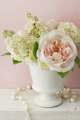 Silk Flower Arrangement in White Urn Peonies & Lilacs
