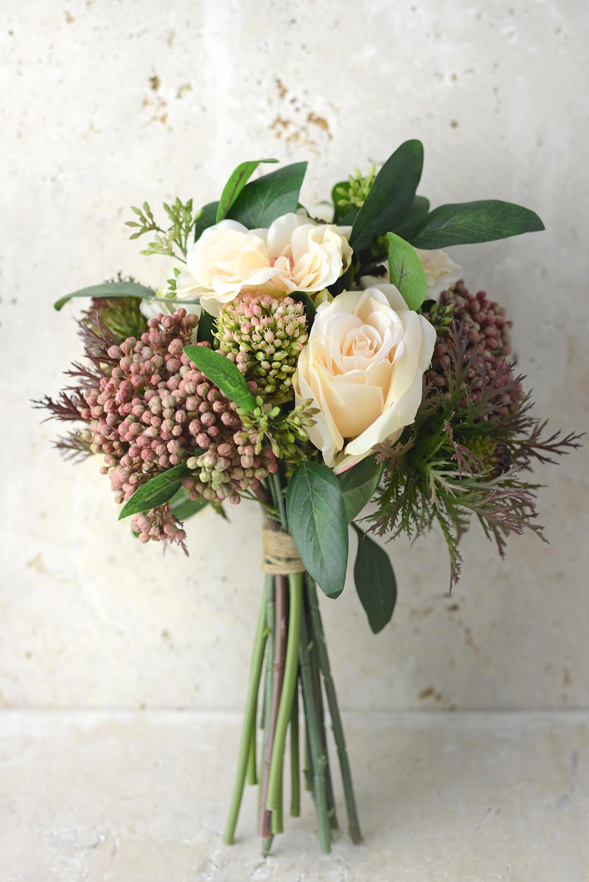 """Rose Lilac & Thistle Silk Bouquet  Peach Green - 11"""" Tall"""