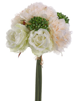 Silk Peony & Rose Bouquet in Blush 19""