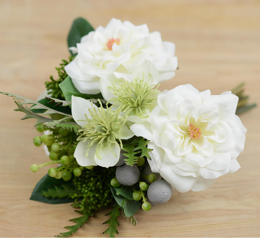 White Rose, Sedum and Nigella Bouquet
