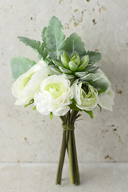 "Artificial Ranunculus & Succulent Bouquet Green Cream 9"" Tall"