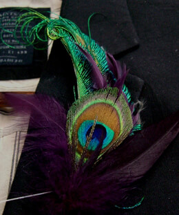 Peacock Feather Boutonniere 6in