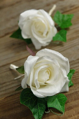 Silk Rose Boutonnieres White | Set of 2