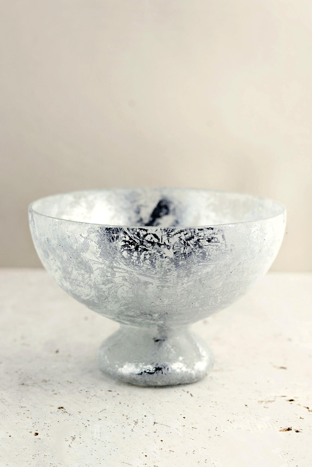 Mercury Glass Compote Bowl Frosted Silver 7x5in