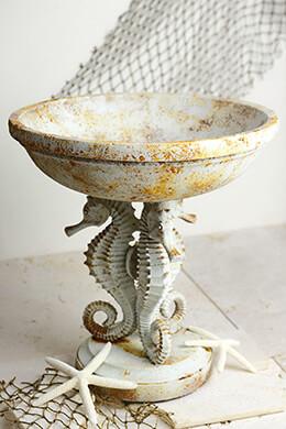 "Seahorse Pedestal Bowl 13"""