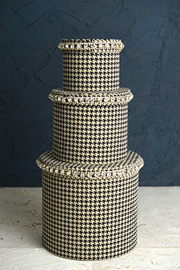 Pied-de-Poule & Rhinestone Hat Boxes Set of Three