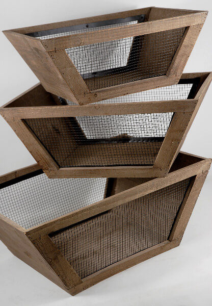 Wood and Wire Boxes (Set of 3)