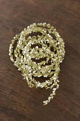 Tiny Metallic Gold Wired Boxwood Garland 12ft