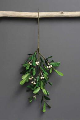 Handmade Mistletoe Branch with Paper Leaves 28-1/4